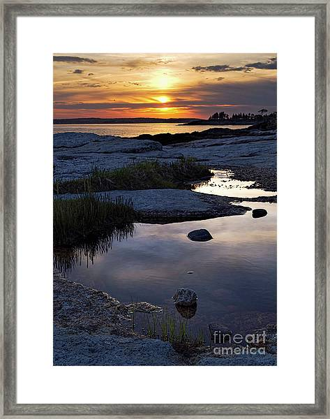 Sunset Over Boothbay Harbor Maine  -23095-23099 Framed Print