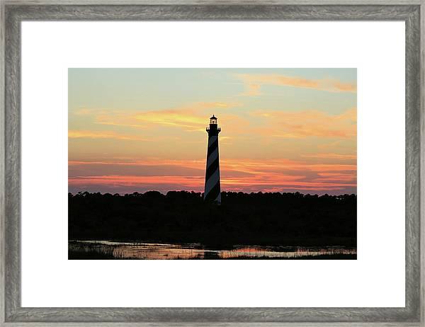 Sunset Over Cape Hatteras Light Framed Print