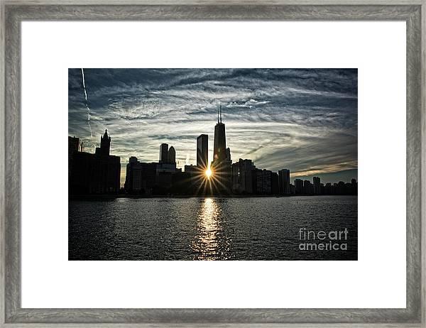Sunset Over Chicago Skyline And Lake Michigan Framed Print