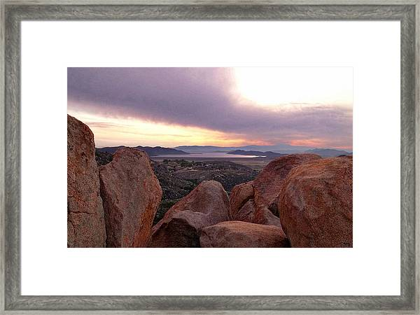 Sunset Over Diamond Valley Lake Framed Print