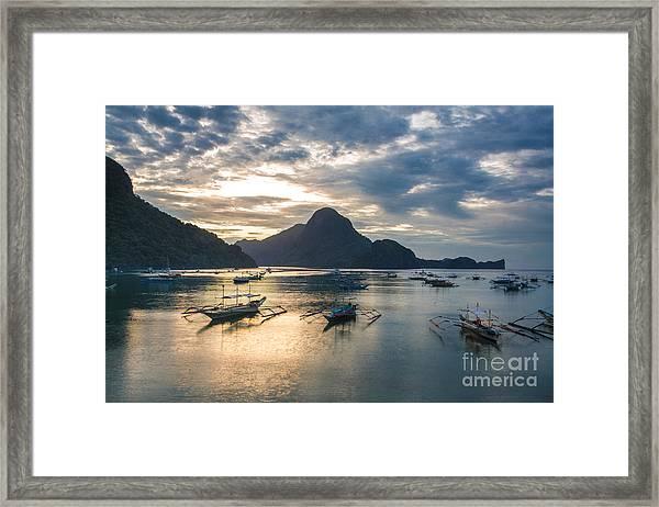 Sunset Over El Nido Bay In Palawan, Philippines Framed Print