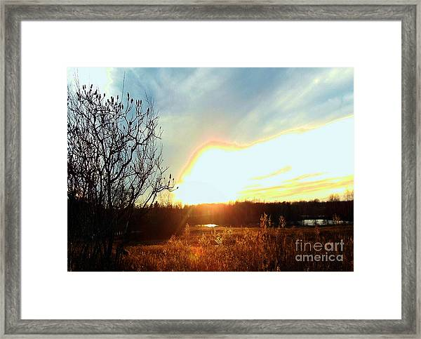 Sunset Over Fields Framed Print