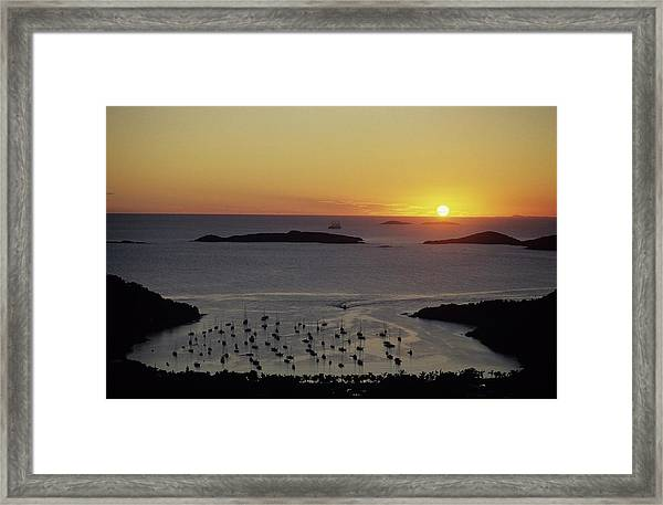 Sunset Over Great Cruz Bay Framed Print