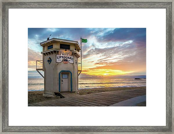 Sunset Over Laguna Beach Lifeguard Station Framed Print