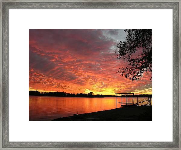 Sunset Over Lake Murray Framed Print