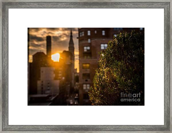 Sunset Over Manhattan New York City Framed Print