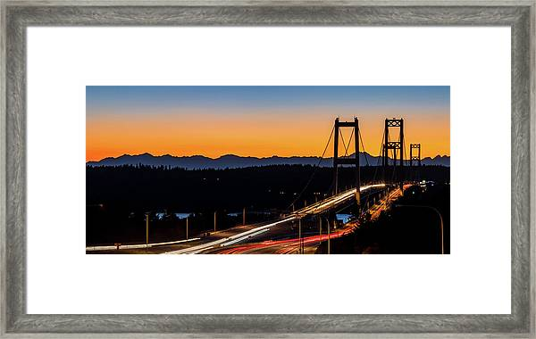 Sunset Over Narrrows Bridge Panorama Framed Print