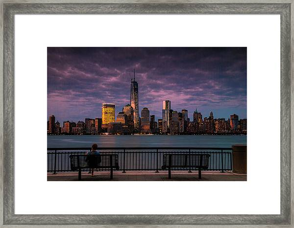 Sunset Over New World Trade Center New York City Framed Print