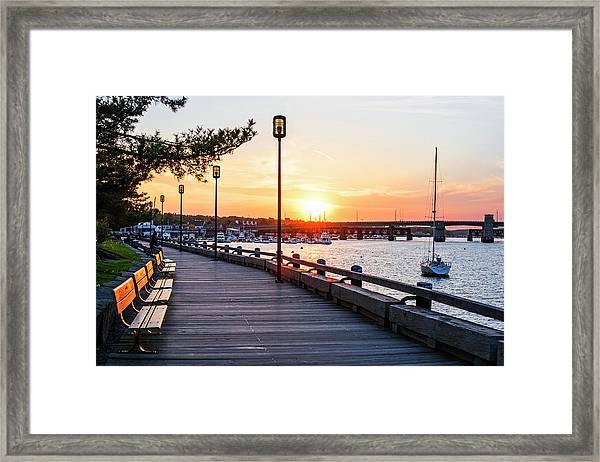 Sunset Over Newburyport Ma Merrimack River Newburyport Turnpike Framed Print