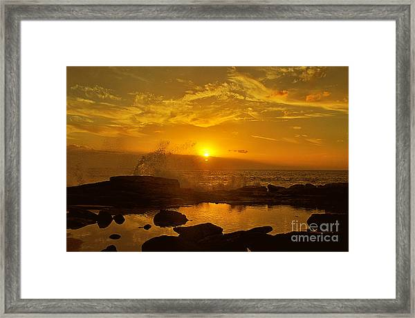 Sunset Over Oahu Hawaii  Framed Print