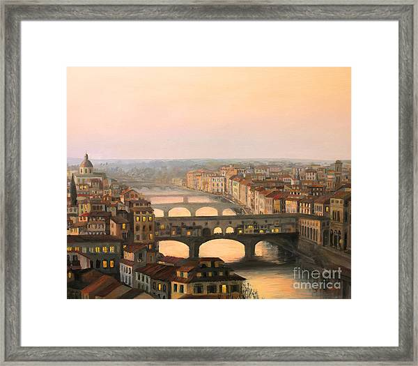 Sunset Over Ponte Vecchio In Florence Framed Print