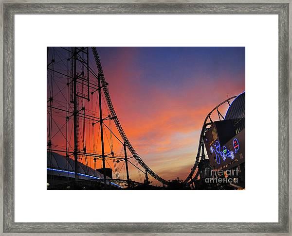 Sunset Over Roller Coaster Framed Print