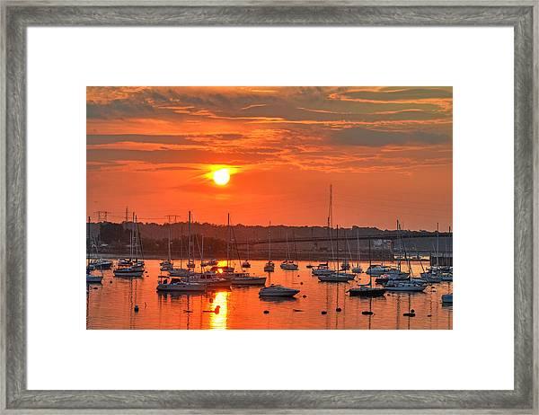 Sunset Over Salem Harbor Salem Beverly Bridge 2 Framed Print