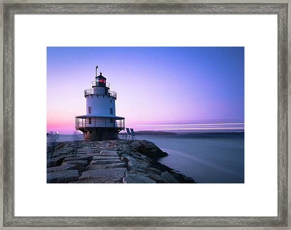 Sunset Over Spring Breakwater Lighthouse In South Maine Framed Print