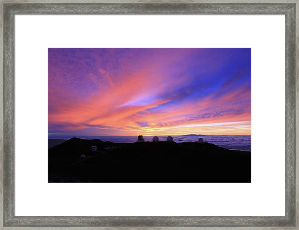 Sunset Over The Clouds Framed Print