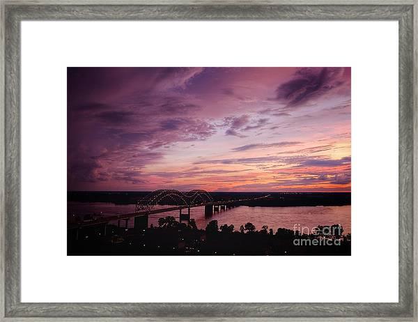 Sunset Over The I40 Bridge In Memphis Tennessee  Framed Print