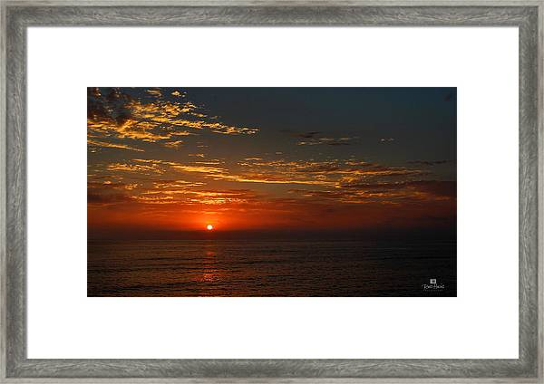 Sunset Over The Pacific Ocean Framed Print