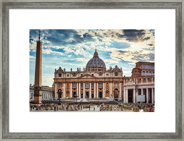 Sunset Over The Papal Basilica Of Saint Peter Framed Print