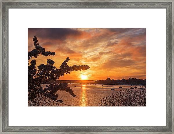 Sunset Over The Salem Beverly Bridge From The Salem Willows Salem Ma Framed Print