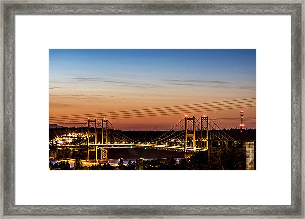 Sunset Over The Tacoma Narrows Bridges Framed Print