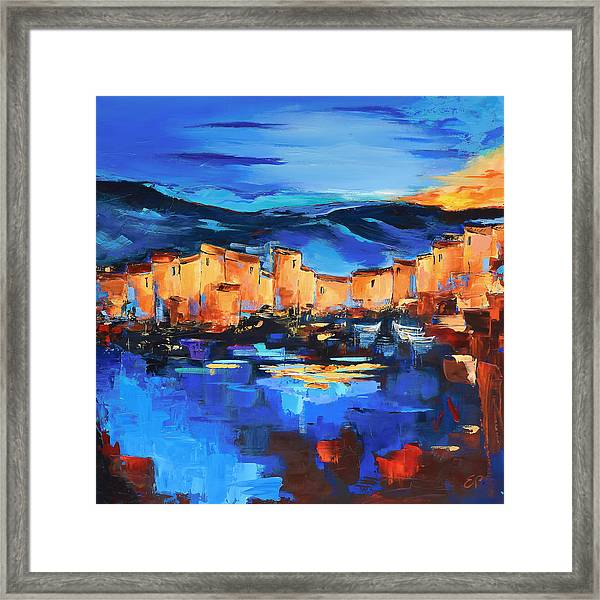 Framed Print featuring the painting Sunset Over The Village 2 By Elise Palmigiani by Elise Palmigiani