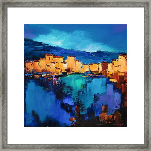 Framed Print featuring the painting Sunset Over The Village 3 By Elise Palmigiani by Elise Palmigiani