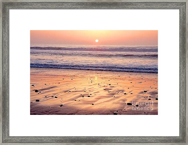 Sunset Over Torrey Pines Beach La Jolla California Framed Print by Julia Hiebaum