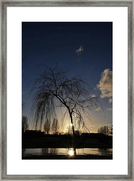 Sunset Over Troubled Waters Framed Print by Gabriella Szekely