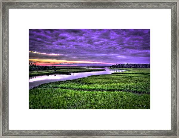 Sunset Over Turners Creek Savannah Tybee Island Ga Framed Print