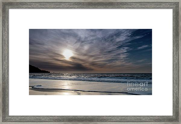 Sunset Over West Coast Beach With Silk Clouds In The Sky Framed Print