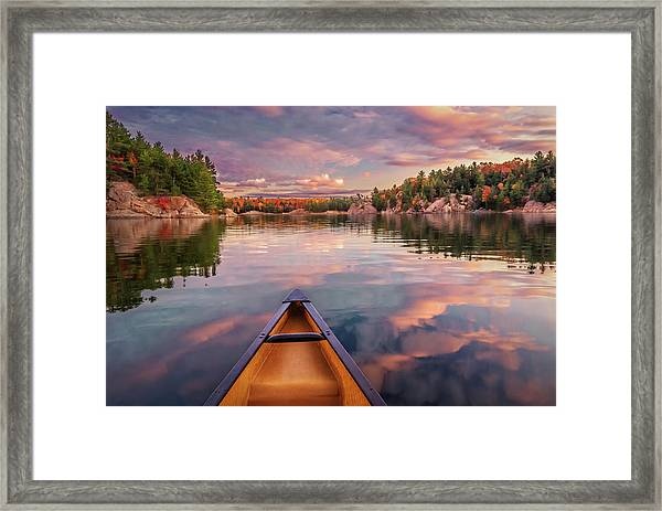 Sunset Paddle Framed Print by Tracy Munson