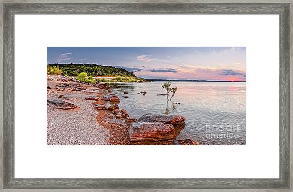 Sunset Panorama Of Canyon Lake East Shore New Braunfels Guadalupe River Texas Hill Country Framed Print
