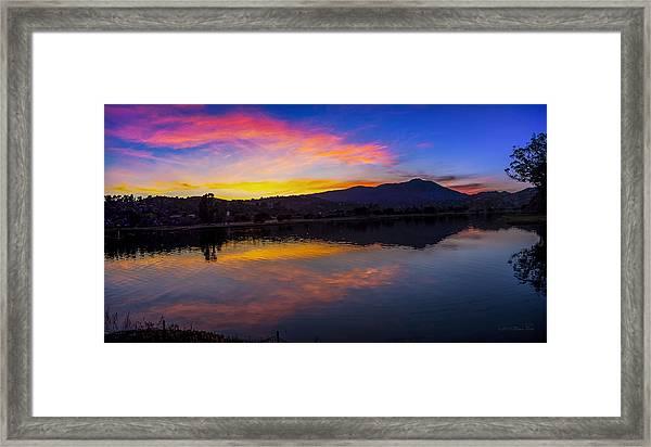 Sunset Panorama Of Mt. Tam And Richardson Bay Framed Print