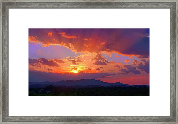 Sunset Rays At Smith Mountain Lake Framed Print