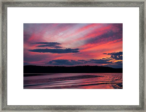 Sunset Red Lake Framed Print
