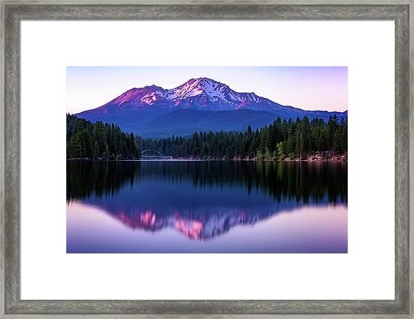 Sunset Reflection On Lake Siskiyou Of Mount Shasta Framed Print