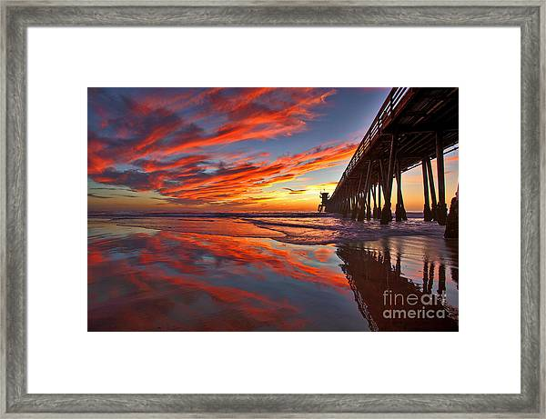 Sunset Reflections At The Imperial Beach Pier Framed Print