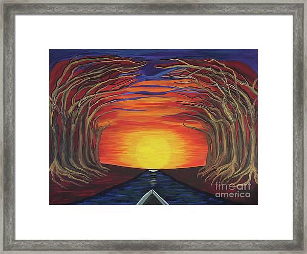 Treetop Sunset River Sail Framed Print