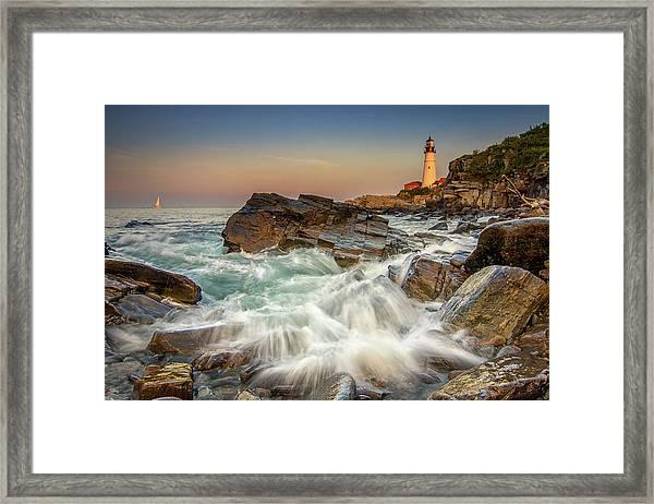 Sunset Sail At Portland Head Light Framed Print
