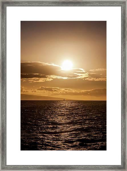 Sunset Sailboat Framed Print