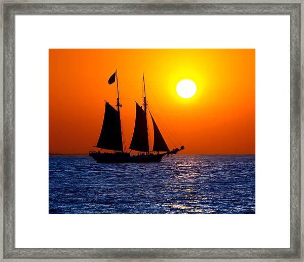 Sunset Sailing In Key West Florida Framed Print
