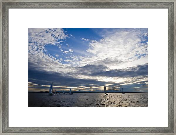Sunset Sailing Framed Print by Tom Dowd
