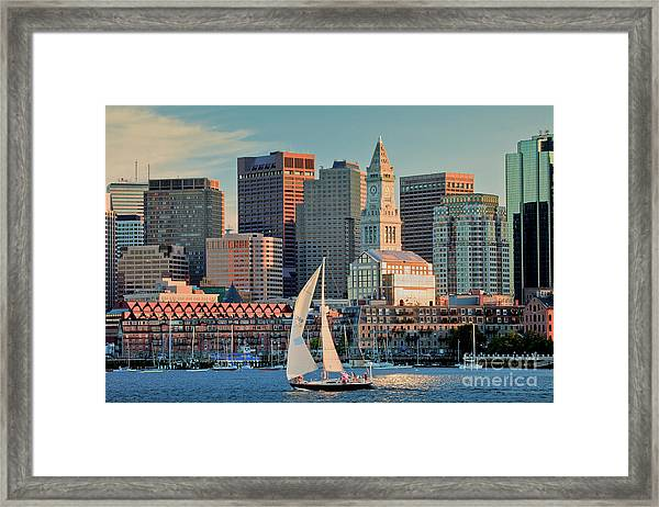 Framed Print featuring the photograph Sunset Sails On Boston Harbor by Susan Cole Kelly