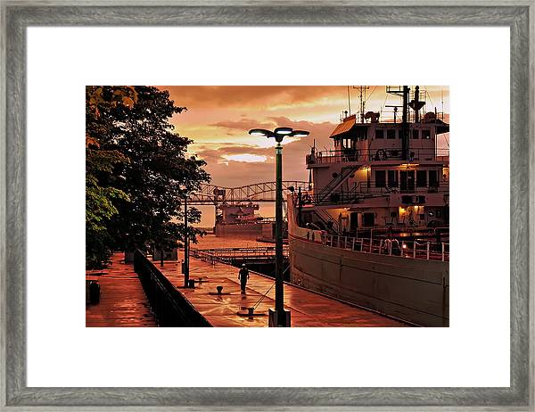 Sunset Sault Locks Framed Print
