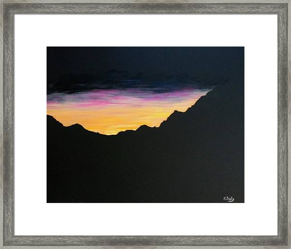 Framed Print featuring the painting Sunset Silhouette by Kevin Daly