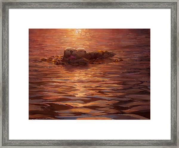 Sea Otters Floating With Kelp At Sunset - Coastal Decor - Ocean Theme - Beach Art Framed Print