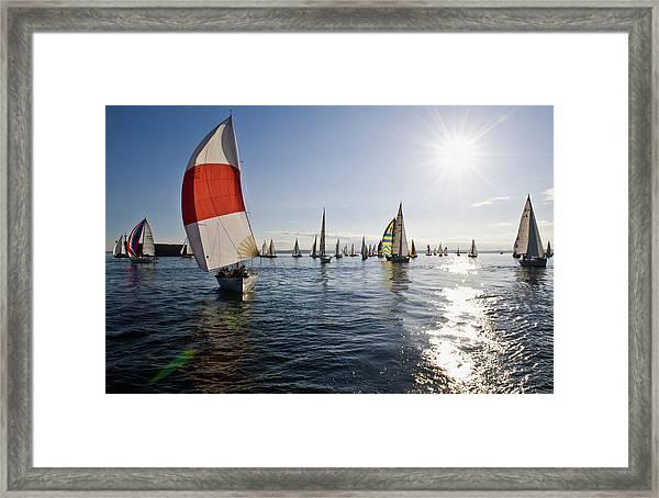 Sunset Spinaker Framed Print by Tom Dowd