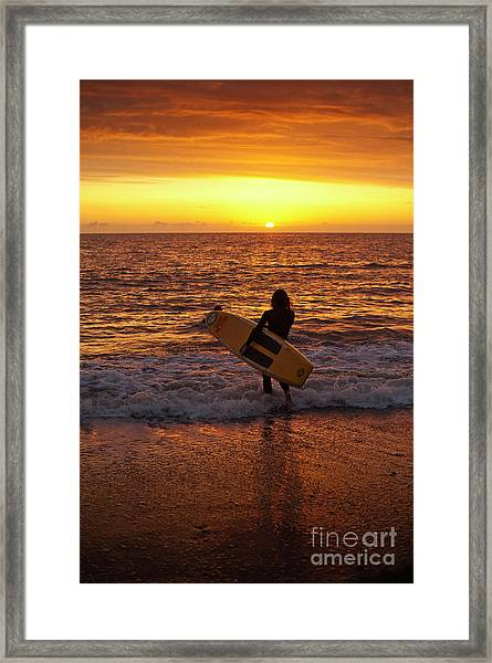 Sunset Surfer On Aberystwyth Beach Wales Uk Framed Print