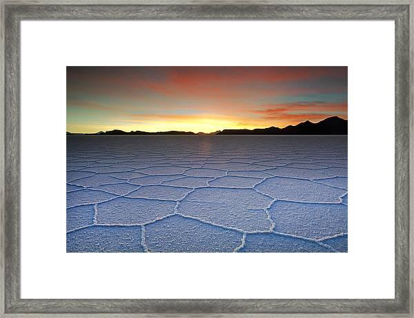 Lake Uyuni Sunset Texture Framed Print