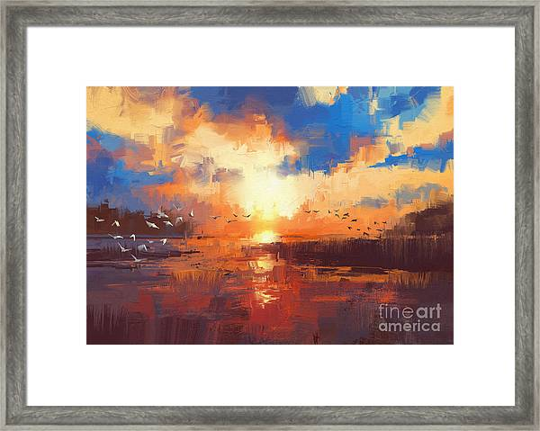 Framed Print featuring the painting Sunset by Tithi Luadthong